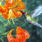 "Hummingbird with Tiger Lily 9"" x 12"""