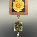 SUNFLOWER PENDANT copper square turquoise and dichroic glass 89.00