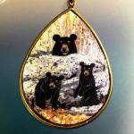 bear family pendant brass teardrop $125.00