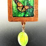 """Monarch butterfly"" apple green turquoise $149.00"