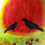 "Big Black Bird and Little Black Bird Contemplate Apples 40""h x 30""w"